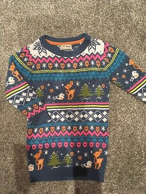 Girls Next Christmas Jumper Dress Age 1.5-2 Years Winter Knitted VGood Condition