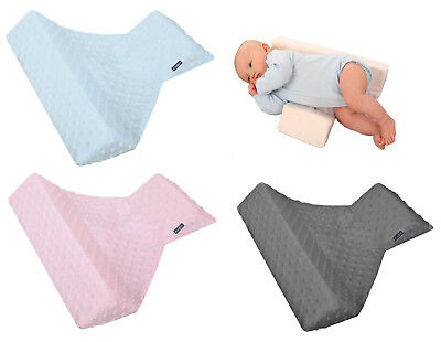 Newborn Baby Sleeping Pillow Cot Bed Two Wedge Anti Roll Pad Minky