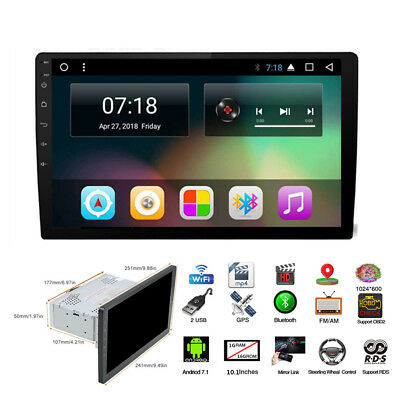 "HD 1Din 10.1"" Auto GPS Stereo Radio Player Android 7.1 Wifi 3G/4G 4-Core DAB RDS"