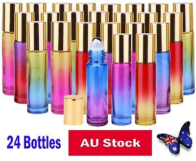 24 10ml Roller Bottles THICK Glass BIG Steel Ball Roll On Bottle Gradient Color