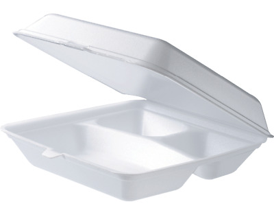 200Pcs Foam Dinner Box 3 Compartment Clam TakeAway Container 230X230X75mm BULK