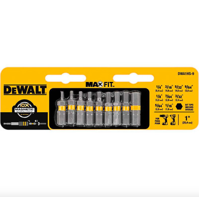 Dewalt 1 inch Hex Socket Bit Tip Screwdriver Set 9 Pack Magnetic Driver Bits New