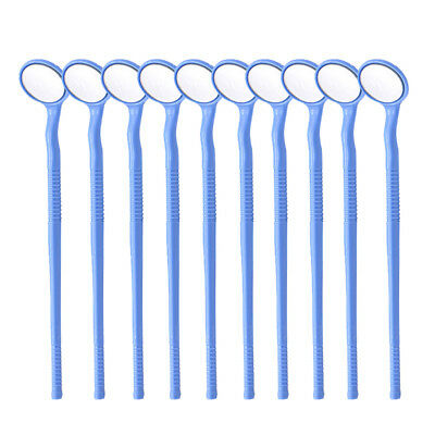 10pc Oral Mirror ABS Handle Dental Mirror Curved double-side Mouth Mirror Blue