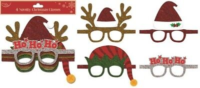 ** 4 Pack Of Novelty Christmas Glasses New Glittery ** Xmas Party Fancy Dress