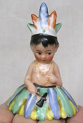Vintage Figural Bell Native American Princess with Tomahawk 1950s RARE !