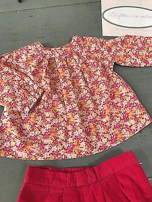 JACADI 12 months Blouse in liberty authentic pink + set folds