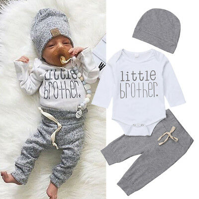 US Newborn Infant Baby Boy Little Brother's Romper Pants Trousers Outfit Clothes