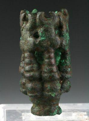 *SC*LARGE ISLAMIC BRONZE FINIAL w. BULLS HEADS, c. 8th-10th cent AD!!