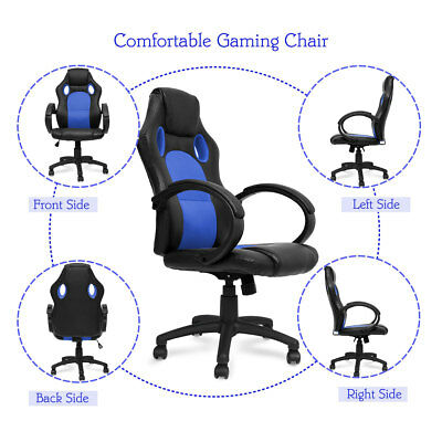 High Back Swivel Recliner Ergonomic Office Computer Gaming Racing Chair Blue New
