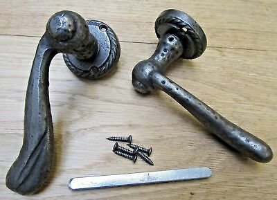 HAMMERED cast iron lever on rose mortice door latch handles Old style georgian