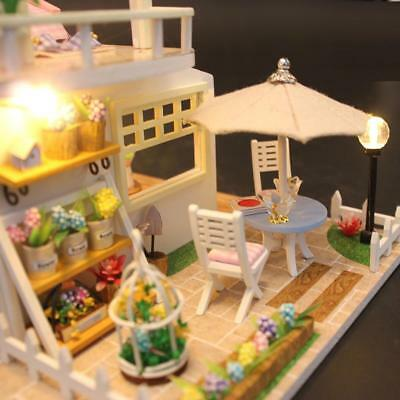 DIY Pink Attic Doll House LED Dollhouse Cabin Miniature Kit Christmas Gift