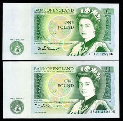 2 Bank  England Vintage Retro One Pound Notes Somerset Uncirculated Isaac Newton