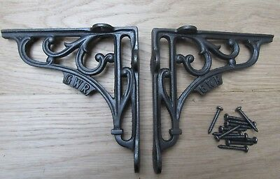 "PAIR OF 6"" GWR Antique iron rustic cast iron vintage shelf support brackets"