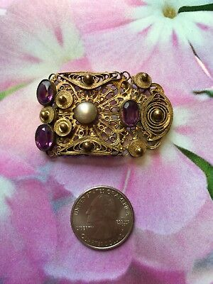 ⭐️Fancy Gilded Antique Victorian Purple Glass Stones Faux Pearl 1/2 Buckle Craft