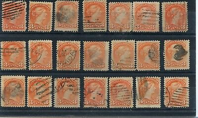 Various cancels on 3c x 21 Small Queen stamps, Canada used