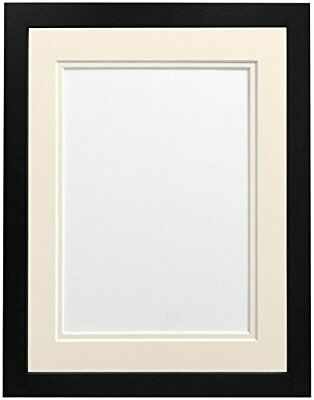 FRAMES BY POST H7 Picture Photo Frame, Wood, Black with Ivory Double Mount, A4 I