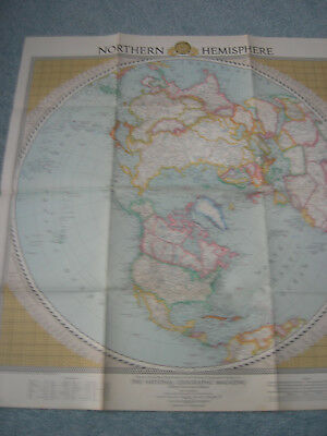 February 1946 National Geographic Northern Hemisphere Map-VGC