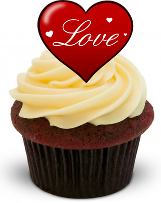 RED LOVE HEART Valentines -Standups 12 Edible Standup Premium Wafer Cake Toppers