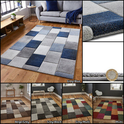 Small Extra Large Multi Coloured Grey Hand Carved Heatset Checked By Think Rugs