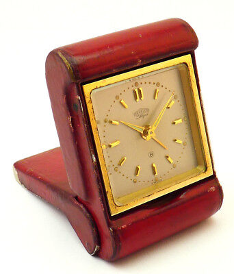 c1940s, FULLY WORKING ART DECO SWISS ANGELUS LILLIPUT 8 DAY TRAVEL ALARM CLOCK