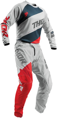2019 Thor Sector Shirt Jersey Pant Combo Gray Red Grey All Sizes Mx Offroad Gear