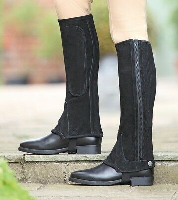 Shires Children's Suede Half Chaps Black XLarge