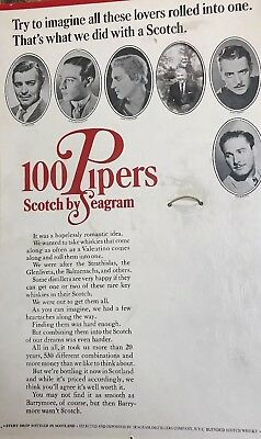 Vintage Seagrams 100 Pipers Scotch Whisky Bar Advertising Ad Actors Gable Flynn