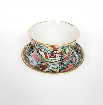 Vintage Y.Y. Japanese porcelain ware Hong Kong hand painted teacup and saucer