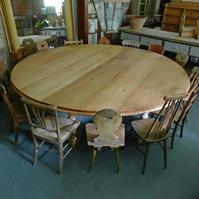 Very Large Faded Mahogany Circular Dining Table. Early 20th Century