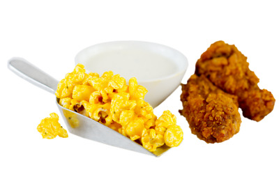 Flavored Popcorn Hot Wings with Blue cheese (Choose Bag Size)