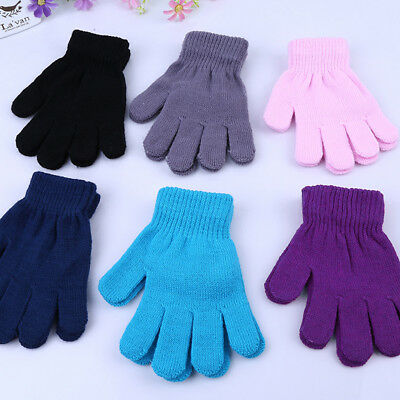Winter Warm Gloves Girl Boy Kids Magic Gloves&Mittens Stretchy Knitted 6 Color