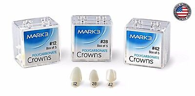 Dental Polycarbonate Temporary Crowns Mark3 -  5/pk (5 crowns), 60 Sizes