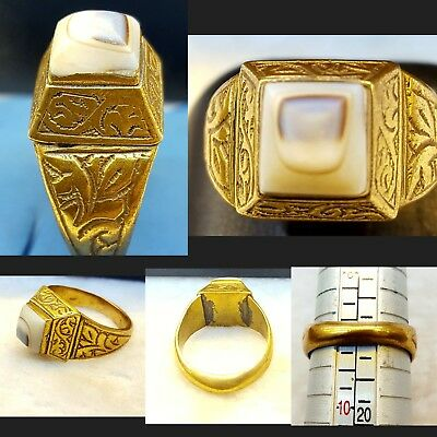 Gold Gulied Rare & Old Ring With Old Lovely & Unique Yamani Eye Agate Stone #YR7