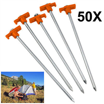 50 x Hard Ground Rock Screw Drill In Steel Pegs Peg Caravan Camping Tent Awning