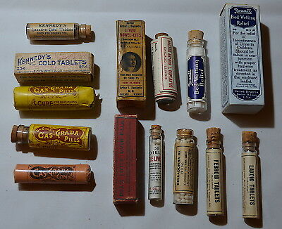 Lot of Ten (10) Different Pill Vials and Bottles, Original Contents & Boxes