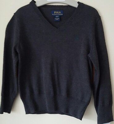 Bnwt Boys/Kids Polo Ralph Lauren V Neck Jumper/Sweater Size 3 Years In Grey