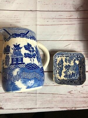 Vintage Blue Willow Pitcher Japan England Tray Antique Rare Only one on Ebay