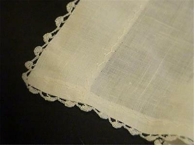 Antique Fine Linen w/ Crochet Trim Top of Bed Pillow Cover Twin or 3/4 Bed Size