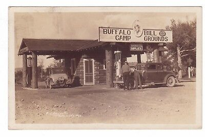 RPPC 1930 View of Buffalo Bill Camp Grounds Store & Gas Station in CODY, WYOMING