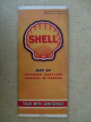 SHELL Touring Road Map DELAWARE-MARYLAND-VIRGINIA-W.VIRGINIA 1940 Vintage