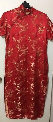 Women's Chinese Red Dress Halloween Costume Double Split Size 16