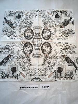 Two (2) New Luncheon Napkins Vintage Home Bird Flower for Decoupage,Paper Crafts