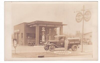 RPPC Early 1930's View of Johnson Service Station & Tanker Truck Gas @ 16 Cents