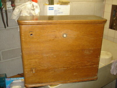 Antique Original Wooden Oak Toilet Tank w/ Copper Liner & Some Parts