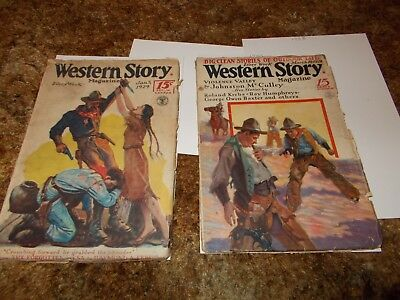 Western Story Magazine~Two Vintage Pulp Magazines~1928 & 1929~15 Cent Covers