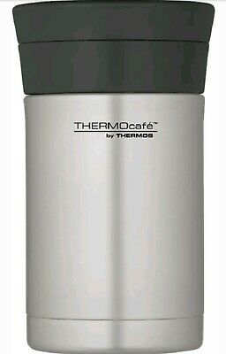 Thermos Thermocafe Stainless Steel Insulated Food Flask & Spoon 500ml Silver