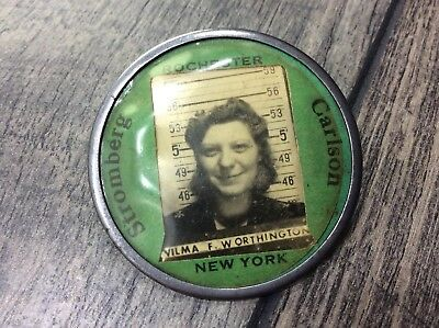 Female Employee ID Badge Picture Stromberg Carlson Rochester New York Vintage