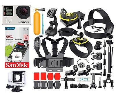 GoPro HERO 4 Silver Edition + 40 PCS Accessory Kit + Sandisk 16GB Micro SD Card
