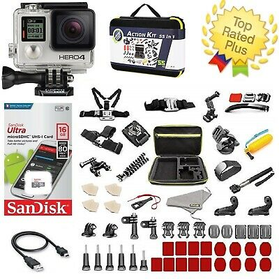 GoPro HERO 4 Black Edition Camera + Action Kit Accessories Bundle (50+) PCS