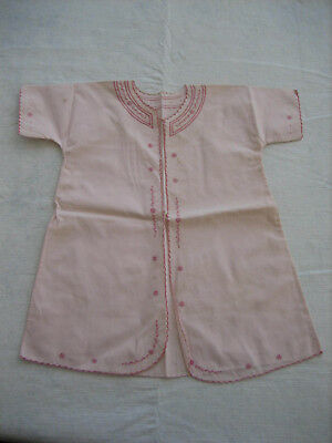 Vintage Antique Baby Toddler Pink Cotton Robe, Pink Embroidery, Scallop Edge
